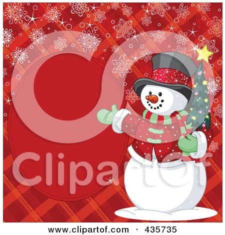 Royalty-Free (RF) Clipart Illustration of a Red Christmas Background Of A Snowman Presenting A Blank Oval Frame On Plaid With Snowflakes by Pushkin