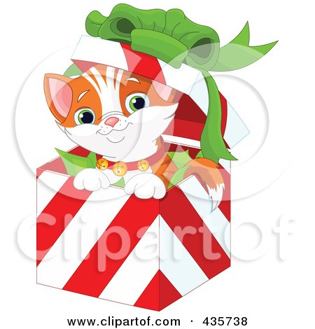 Royalty-Free (RF) Clipart Illustration of a Cute Christmas Kitten Popping Out Of A Gift Box by Pushkin
