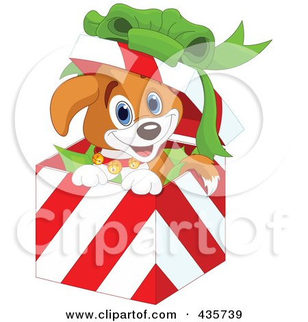 Royalty-Free (RF) Clipart Illustration of a Cute Christmas Puppy Popping Out Of A Gift Box by Pushkin