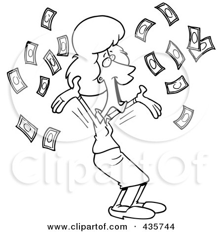 Royalty-Free (RF) Clipart Illustration of a Line Art Design Of A Happy Businesswoman With Falling Cash by toonaday