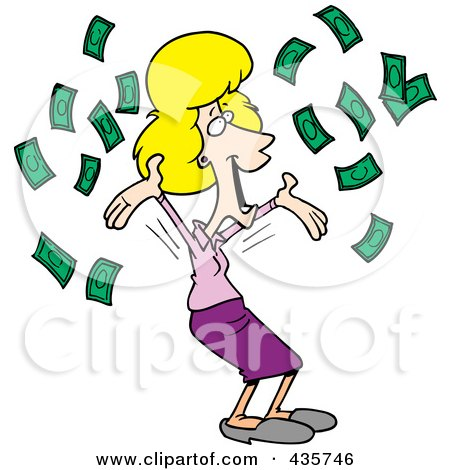 Royalty-Free (RF) Clipart Illustration of a Happy Blond Businesswoman With Falling Cash by toonaday