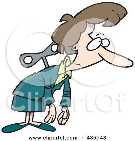 Royalty-Free (RF) Clipart Illustration of an Exhausted Caucasian Wind Up Businesswoman by toonaday