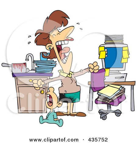 Royalty-Free (RF) Clipart Illustration of a Caucasian Woman At Her Wits End, Trying To Work At Home With A Crying Baby by toonaday