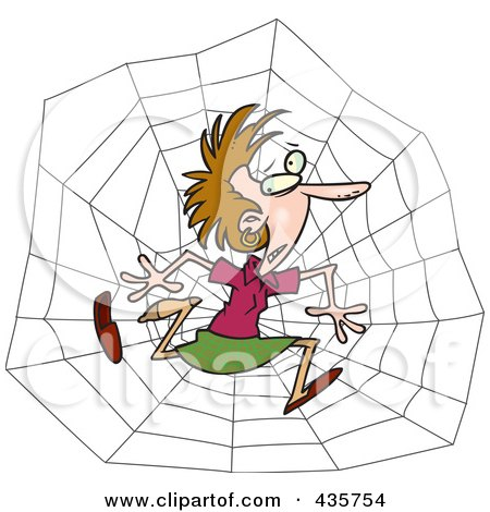 Royalty-Free (RF) Clipart Illustration of a Caucasian Businesswoman Caught In A Web by toonaday