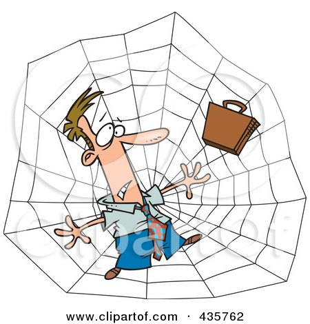 Royalty-Free (RF) Clipart Illustration of a Caucasian Businessman Caught In A Web by toonaday