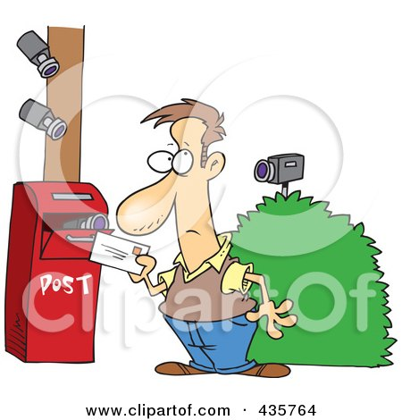 Royalty-Free (RF) Clipart Illustration of Security Cameras On A Man Putting A Letter In A Mail Box by toonaday