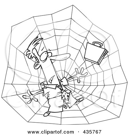 Royalty-Free (RF) Clipart Illustration of a Line Art Design Of A Businessman Caught In A Web by toonaday