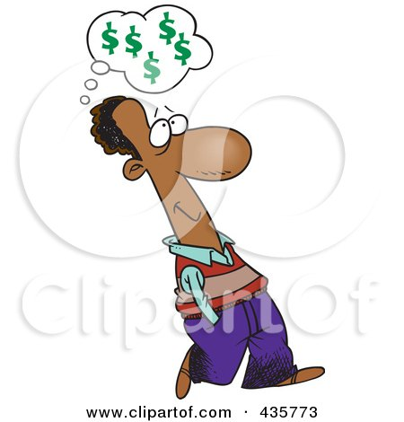 Royalty-Free (RF) Clipart Illustration of a Black Businessman Walking And Thinking About Finances by toonaday