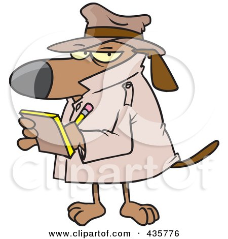 Royalty-Free (RF) Clipart Illustration of a Watch Dog Detective Taking Notes by toonaday