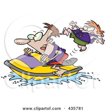 Royalty-Free (RF) Clipart Illustration of a Father And Son Riding A Jet Ski by toonaday