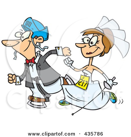 Royalty-Free (RF) Clipart Illustration of a Caucasian Wedding Couple Running In A Race by toonaday