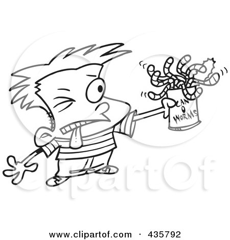 Royalty-Free (RF) Clipart Illustration of a Line Art Design Of A Boy Holding A Can Of Worms by toonaday