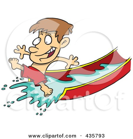 Royalty-Free (RF) Clipart Illustration of a Happy Boy On A Water Slide by toonaday