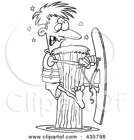 Royalty-Free (RF) Clipart Illustration of a Line Art Design Of A Waterskier Hitting A Post by toonaday