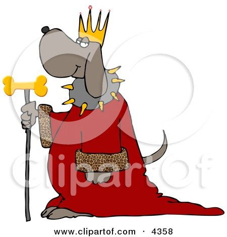 Dog Wearing King's Crown, Royal Red Robe, and Holding a Gold Milk-Bone Staff Clipart by djart