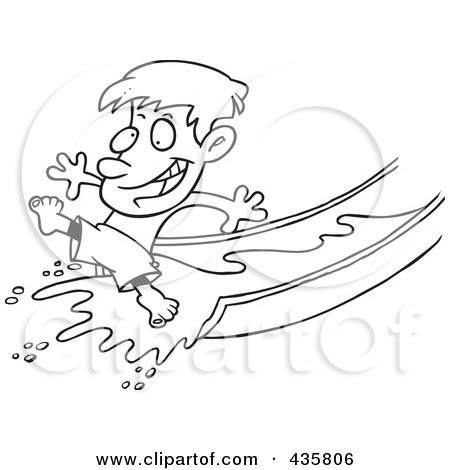 Royalty-Free (RF) Clipart Illustration of a Line Art Design Of A Happy Boy On A Water Slide by toonaday