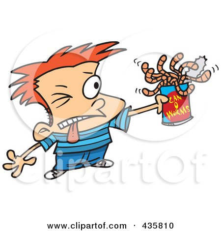 Royalty-Free (RF) Clipart Illustration of a Red Haired Boy Holding A Can Of Worms by toonaday