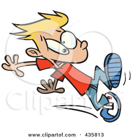 Royalty-Free (RF) Clipart Illustration of a Boy Trying To Stop Himself When Running by toonaday