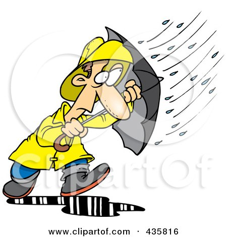 Royalty-Free (RF) Clipart Illustration of a Cartoon Man Caught In A Nasty Rain Storm by toonaday