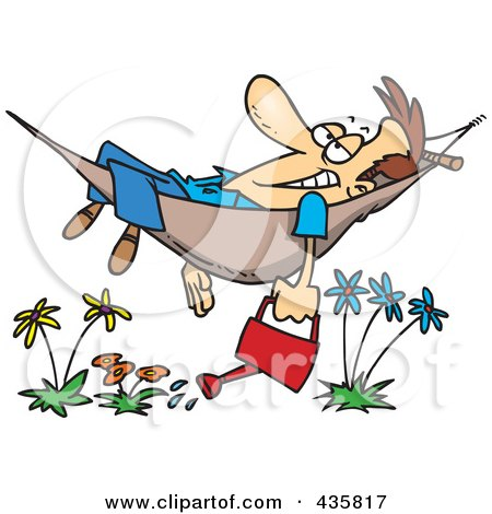 Royalty-Free (RF) Clipart Illustration of a Happy Man Relaxing In A Hammock And Watering His Flowers by toonaday