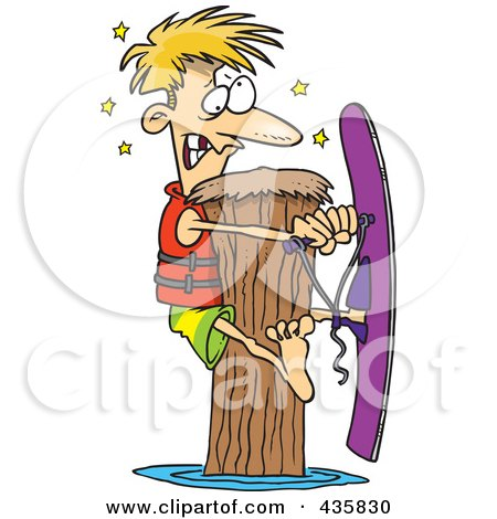 Royalty-Free (RF) Clipart Illustration of a Waterskier Hitting A Post by toonaday