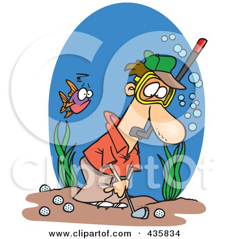 Royalty-Free (RF) Clipart Illustration of a Man Wearing A Snorkel Mask And Golfing Underwater by toonaday