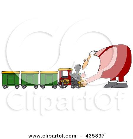 Royalty-Free (RF) Clipart Illustration of Santa Assembling A Toy Train by djart