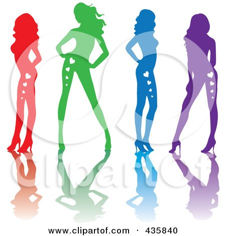 Royalty-Free (RF) Clipart Illustration of a Line Of Red, Green, Blue And Purple Sexy Pinup Women With Hearts On Their Bodies And Reflections by Rosie Piter