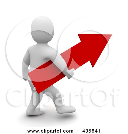 Royalty-Free (RF) Clipart Illustration of a 3d Blanco White Man Carrying A Red Arrow by Jiri Moucka