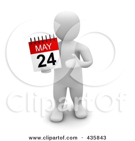 Royalty-Free (RF) Clipart Illustration of a 3d Blanco White Man Holding A May 24 Calendar by Jiri Moucka