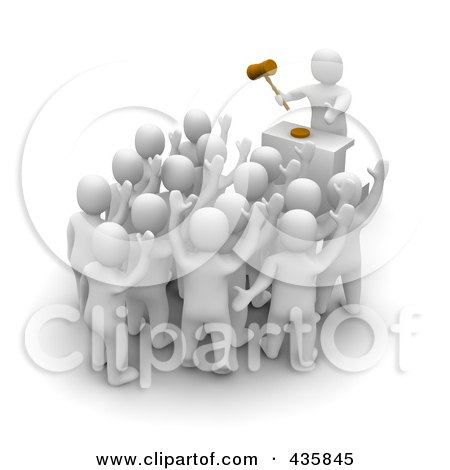 Royalty-Free (RF) Clipart Illustration of a Group Of 3d Blanco White Men Bidding At An Auction by Jiri Moucka