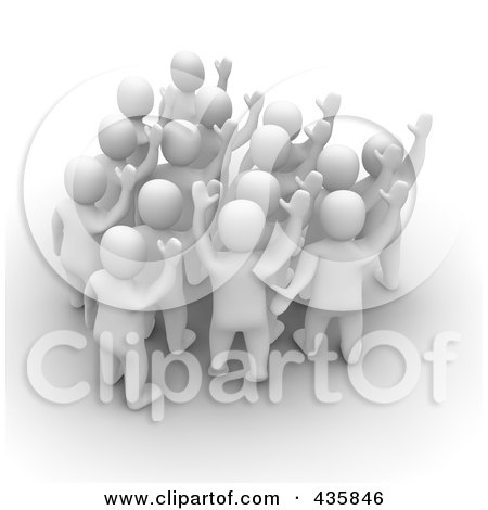 Royalty-Free (RF) Clipart Illustration of a Group Of 3d Blanco White Men Welcoming by Jiri Moucka
