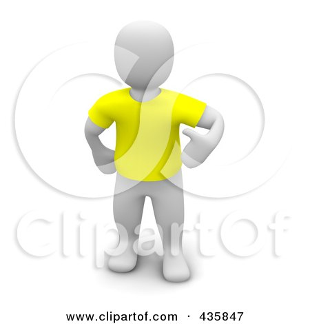 Royalty-Free (RF) Clipart Illustration of a 3d Blanco White Man Wearing A Yellow T Shirt by Jiri Moucka