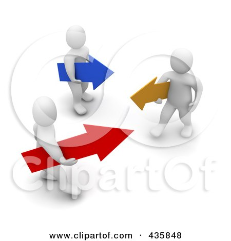 Royalty-Free (RF) Clipart Illustration of 3d Blanco White Men Carrying Blue, Yellow And Red Arrows by Jiri Moucka