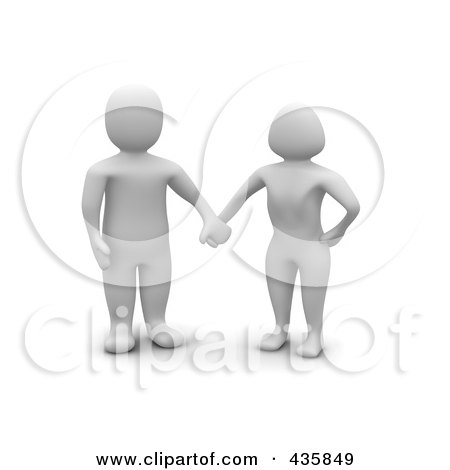 Royalty-Free (RF) Clipart Illustration of a Blanco White Couple Holding Hands by Jiri Moucka