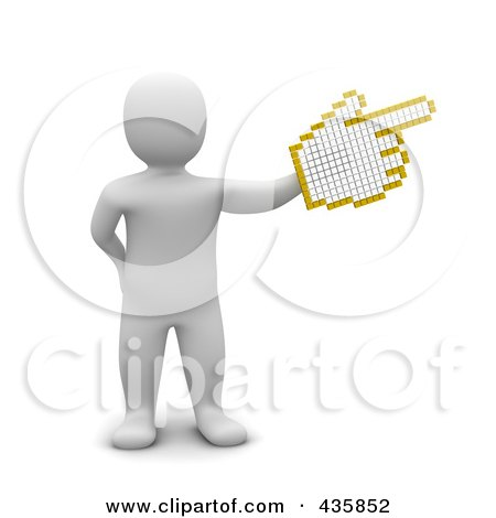 Royalty-Free (RF) Clipart Illustration of a 3d Blanco White Man Pointing With A Hand Cursor by Jiri Moucka