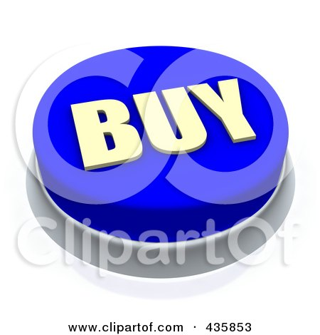 Royalty-Free (RF) Clipart Illustration of a 3d Blue Buy Push Button by Jiri Moucka