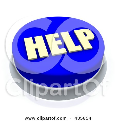Royalty-Free (RF) Clipart Illustration of a 3d Blue Help Push Button by Jiri Moucka
