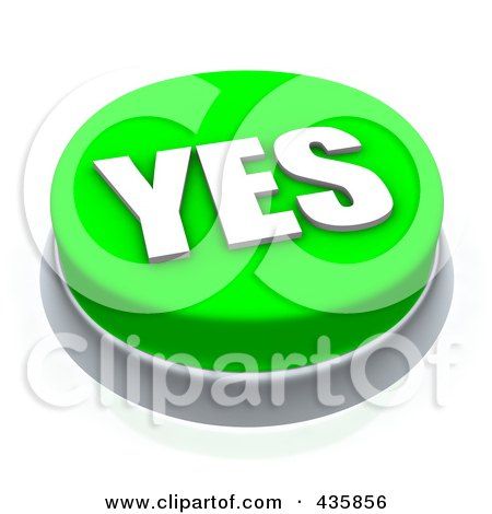 Royalty-Free (RF) Clipart Illustration of a 3d Green Yes Push Button by Jiri Moucka