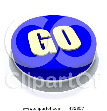Royalty-Free (RF) Clipart Illustration of a 3d Blue Go Push Button by Jiri Moucka