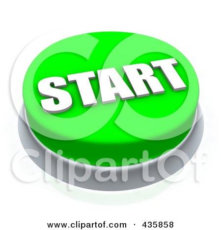 Royalty-Free (RF) Clipart Illustration of a 3d Green Start Push Button by Jiri Moucka