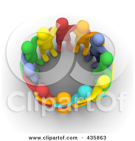Royalty-Free (RF) Clipart Illustration of a Group Of Colorful 3d Men Huddled In A Circle by Jiri Moucka