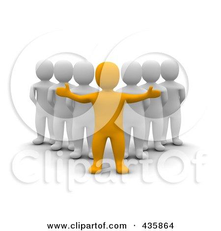 Royalty-Free (RF) Clipart Illustration of a 3d Anaranjado Orange Man Leader Standing In Front Of A Group Of Blanco White Men by Jiri Moucka