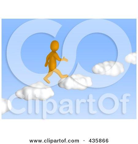 Royalty-Free (RF) Clipart Illustration of a 3d Anaranjado Orange Man Walking Up Cloud Steps In A Blue Sky by Jiri Moucka