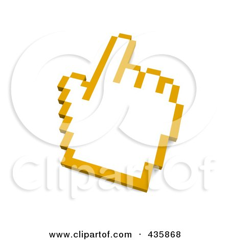 Royalty-Free (RF) Clipart Illustration of a 3d Yellow Outlined Hand Cursor by Jiri Moucka