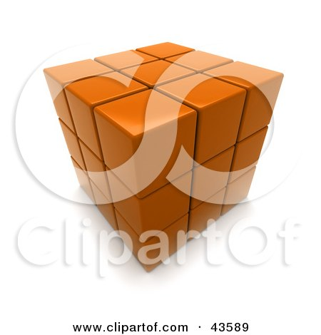 Clipart Illustration of a 3d Completed Orange Puzzle Cube by Frank Boston