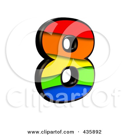 Royalty-Free (RF) Clipart Illustration of a 3d Rainbow Symbol; Number 8 by chrisroll