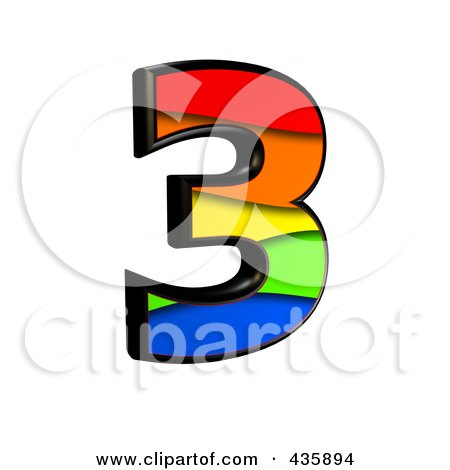 Royalty-Free (RF) Clipart Illustration of a 3d Rainbow Symbol; Number 3 by chrisroll