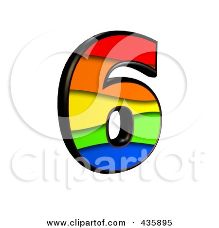 Royalty-Free (RF) Clipart Illustration of a 3d Rainbow Symbol; Number 6 by chrisroll