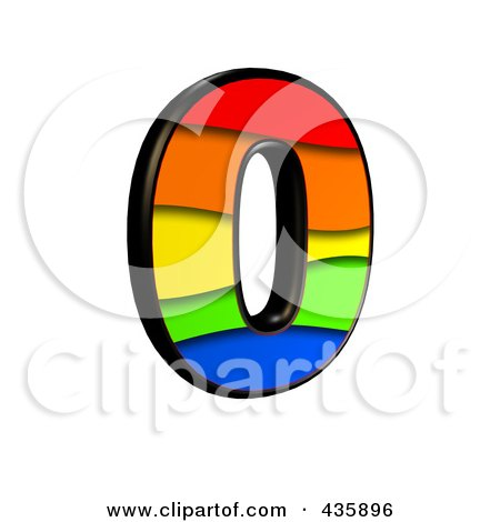 Royalty-Free (RF) Clipart Illustration of a 3d Rainbow Symbol; Number 0 by chrisroll